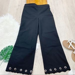 Zara Woman Black Grommet Flare Hem Pants D1377